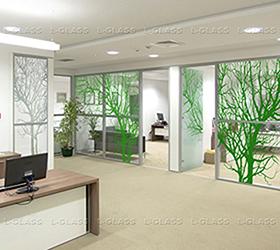 Зеленые деревья, L-Glass, УФ печать, Керамические краски, печать керамикой