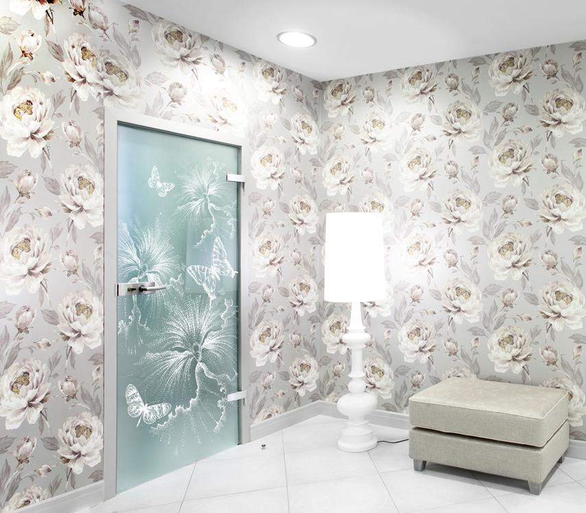 Керамическая печать на стеклянной двери, L-Glass, УФ печать, Керамические краски, печать керамикой